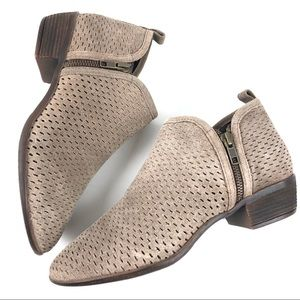 Diba Lovely Tan Suede Perforated Ankle Booties